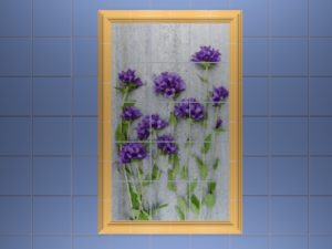Керамическое панно ручной работы «Синие цветы»