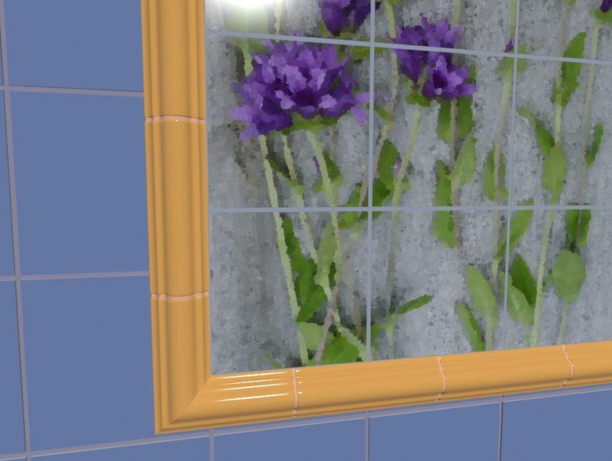 Керамическое панно «Синие цветы»