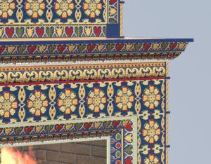 Изразцовый камин в русском стиле и изразцами ярославской серии