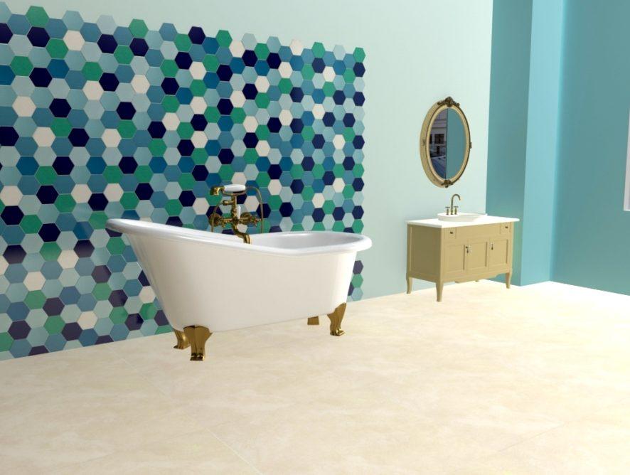Ванная комната с плиткой Гексагон
