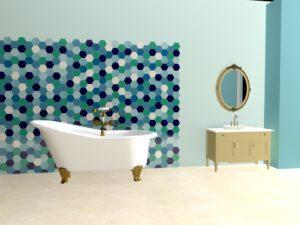 Ванная комната с керамической плиткой ручной работы Гексагон