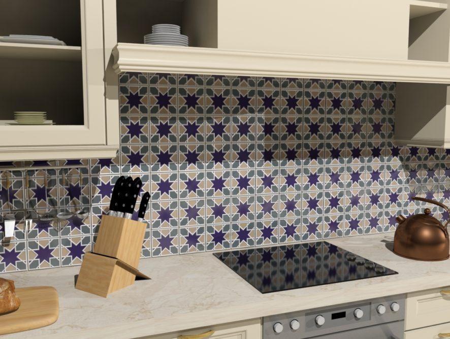 Кухонный фартук с изразцовой плиткой Амон-Ра, Арабеска, Южная ночь