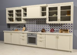 Кухонный фартук с изразцовой плиткой ручной работы Арабеска